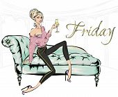 Fashion Girl With Glass Of Champagne Sitting On Sofa In Living Room. Friday Home Party, Luxury Fashi poster