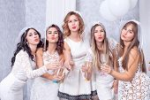 Holidays, Nightlife, Bachelorette Party And People Concept - Smiling Women With Champagne Glasses poster
