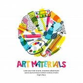 Art Materials For Craft Design And Creativity. Vector Isolated Illustration In Circle Shape. Banner, poster
