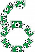 Постер, плакат: Номер 6 шесть от футбольные мячи и футбольных полей
