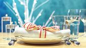 Holiday Table Place Setting With Focus On Napkin poster