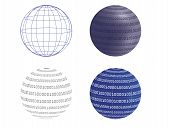 pic of binary code  - set of wireframe and digital globe vector illustration - JPG