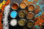Set Of Spices On Dark Grey Background. Glass Jars poster