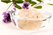 stock photo of sea salt  - Bath Sea Salt With Fresh Lavender Flowers