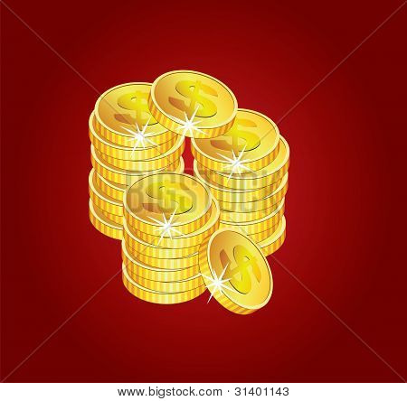 Vector Golden Coins On Red Background