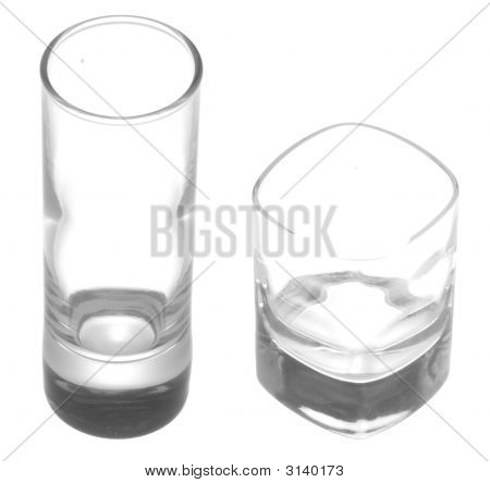 Shot Glasses On White