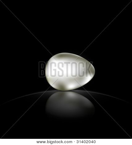 black background silver egg