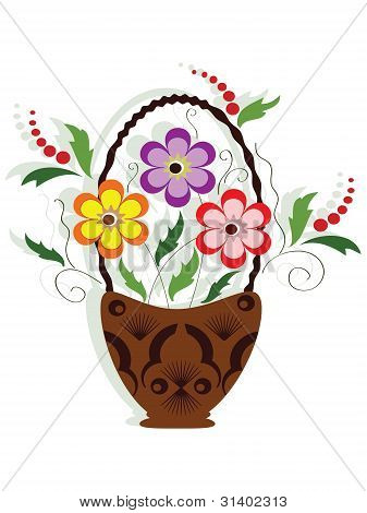 Decor with flowers, vector