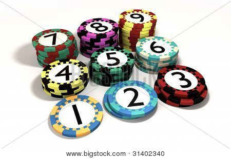 Casino Chip Stacked In Quantity Order