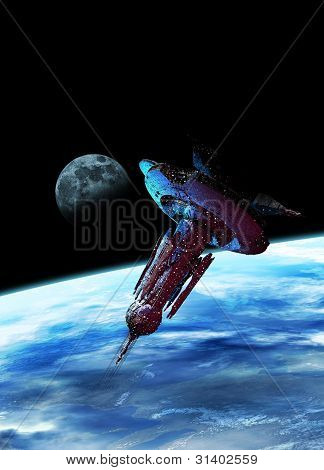 Large Spaceship In Earth Orbit