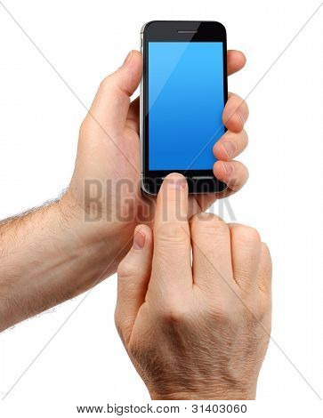 Male Hands Holding Smartphone