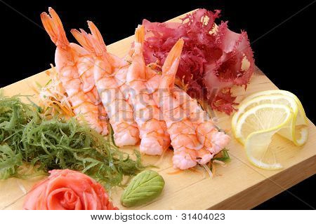 Sashimi Ebi On A Board