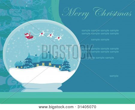 Illustration winter festive ball with house and Santa claus