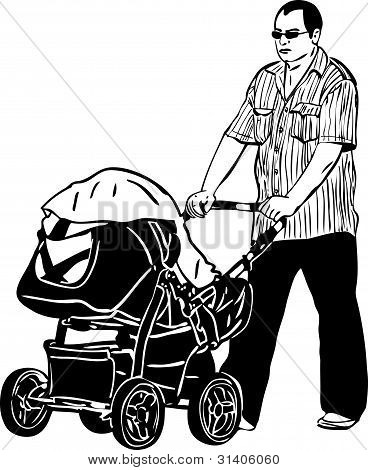 sketch a dad spectacled rolls a child carriage