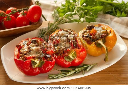 Baked stuffed red bell pepper
