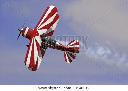 Red White Biplane