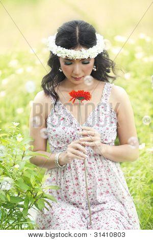 Beautiful Asian Woman In Spring