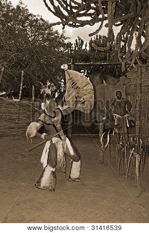 young man wears traditional Zulu clothing