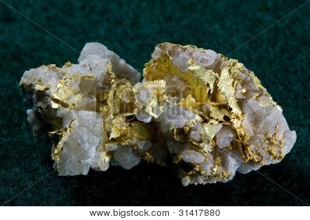 Natural Gold in White Quartz