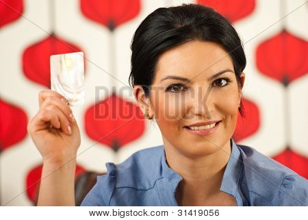 Business Woman Showing Credit Card