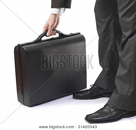Elegant Business Man In Suit Holding Black Briefcase