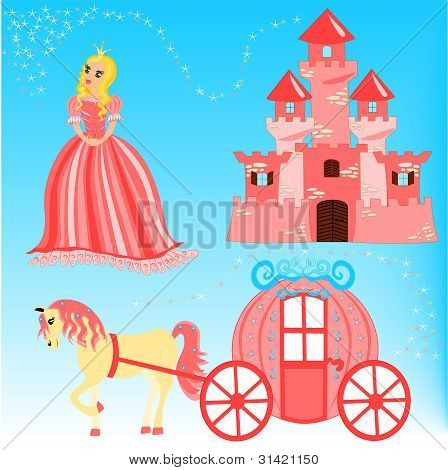 Cartoon illustration of fairytale set