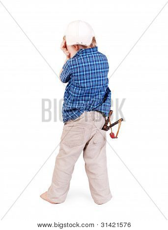 Crying Little Boy With Slingshot
