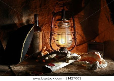 Pirate Of The Still Life Of Wine, Hats, Ropes, Sinks, Fixtures, Maps