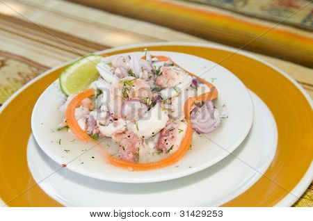 Spanish Seafood Salad Appetizer Tapas Shrimp Ocotpus Caracol Conch Photographed In San Andres Island