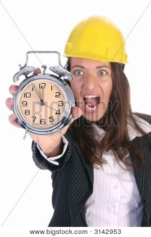 Businesswoman Confused And Clock