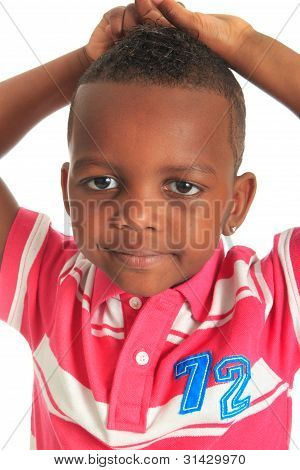 Afro American Beautiful Black Child Who Smiles Isolated