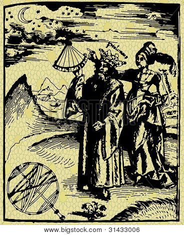 Astronomer and woman-old engraving