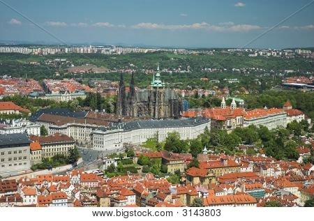 Aerial View Of Prague Castle And St-Vitus Cathedral