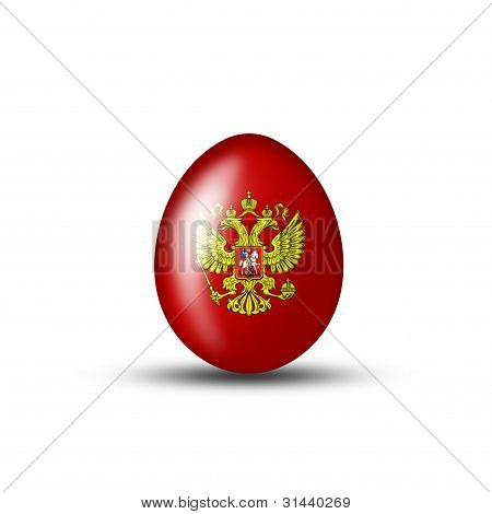 Russian Coat Of Arms On A Red Egg
