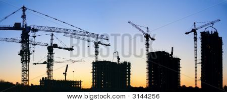 Construction Cranes Silhouette Sunset