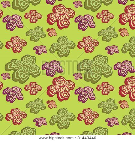 Green Seamless Background With Abstract Flowers