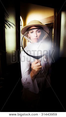 Vintage Archaeologist With Large Magnifying Glass