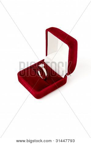 Diamond ring in red jewel box
