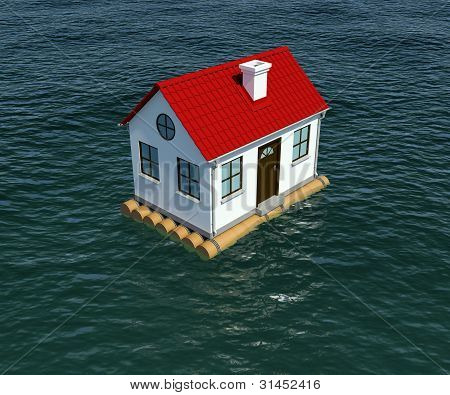 House on wooden raft floats on water