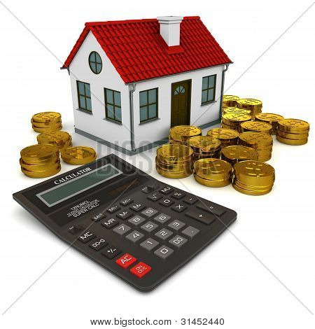 House with red roof calculator stack of gold coins dollar