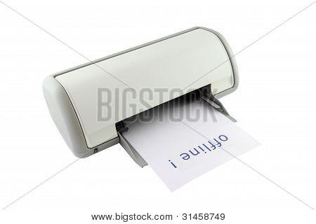 Modo sin conexión de la impresora muestra sobre fondo blanco.