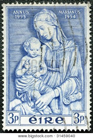 Ireland - Circa 1954: Shows Madonna By Della Robbia, Marian Year, 1953-54