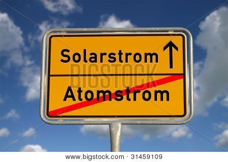 German Road Sign Nuclear Power And Solar Power