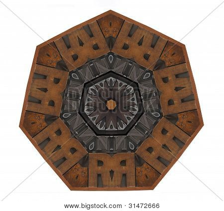 heptagon with wood and metal type