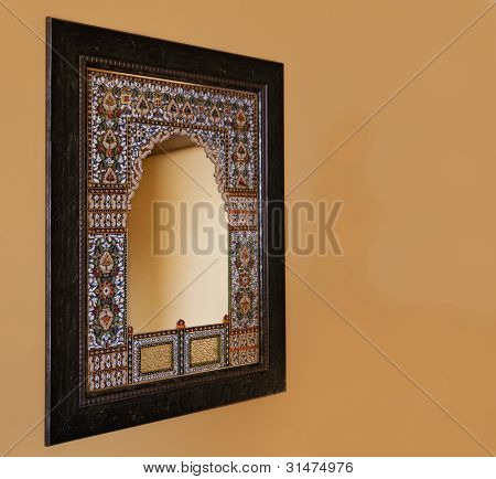 Oak Framed Indigenous Mosiac Mirror India