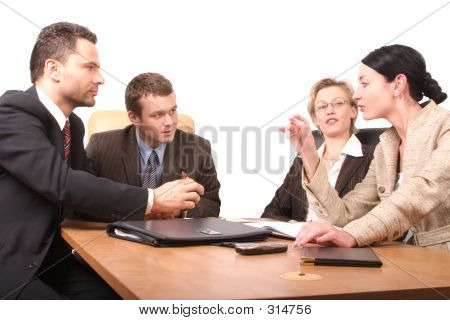 Group Of People Negotiate At The Desk - Isolated