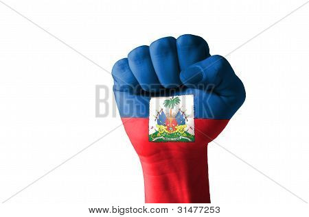 Fist Painted In Colors Of Haiti Flag