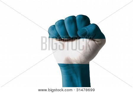 Fist Painted In Colors Of El Salvador Flag