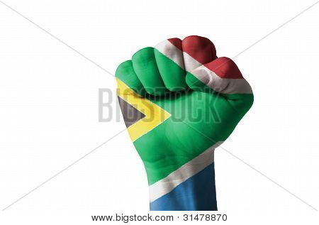 Fist Painted In Colors Of South Africa Flag