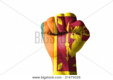 Fist Painted In Colors Of Srilanka Flag